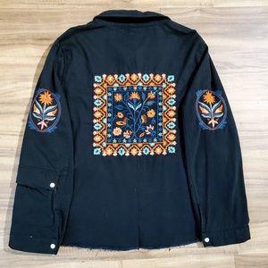 Zara Black Embroidered Utility Jacket